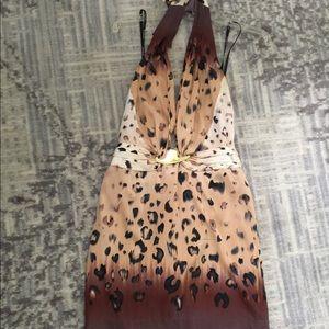Bebe leopard print open back dress